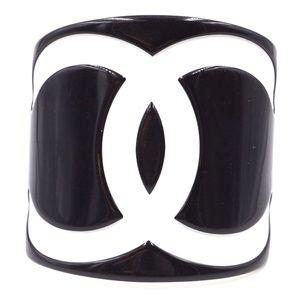 73d687ca32a Black White Extra Wide Cc Cuff Bangle Bracelet